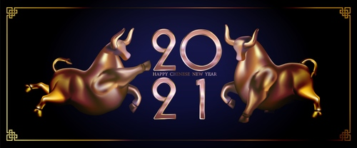 Two copper bulls 2021 new year vector