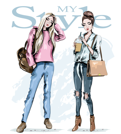 Two fashion girls watercolor illustration vector