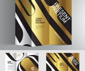Typography golden silver 3d brochure vector