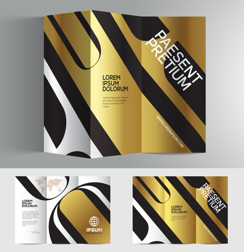 Typography golden silver 3d brochure vector