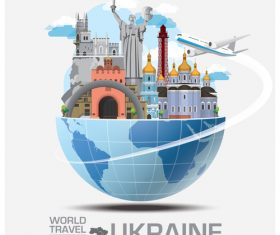Ukraine famous tourist attractions concept vector