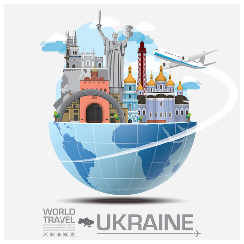 Ukraine famous tourist attractions concept vector