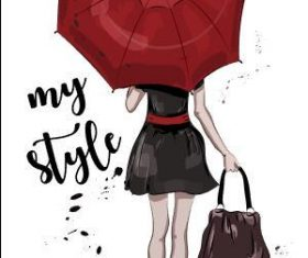 Umbrella woman back view watercolor illustration vector
