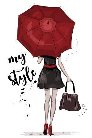Umbrella woman back view watercolor illustration vector