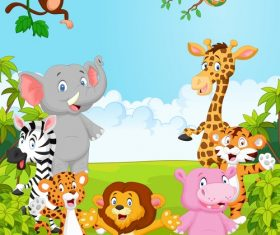 Various animals in the forest cartoon vector
