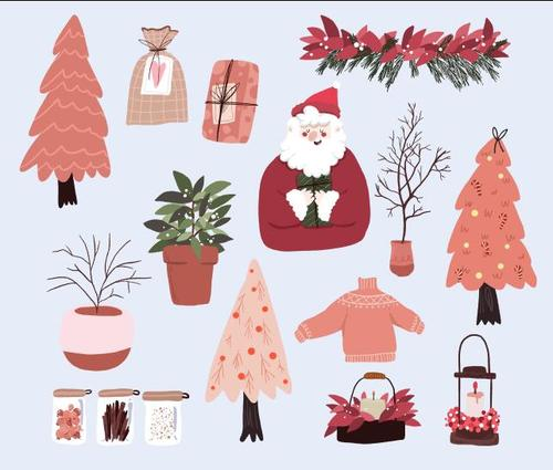 Various christmas elements vector