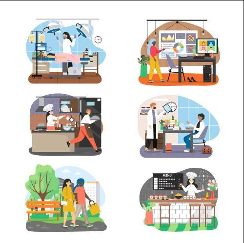 Various industries cartoon vector