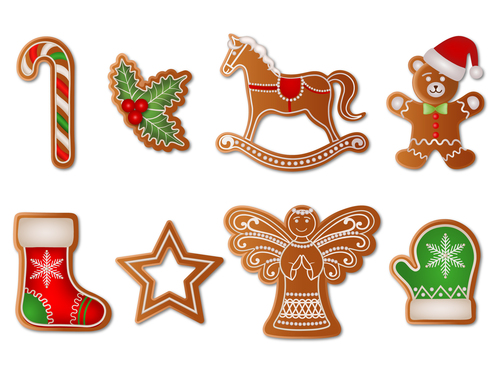 Various shapes christmas gingerbreads vector