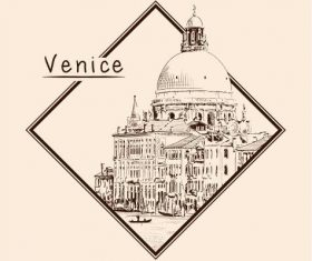 Venice architectural sketch vector