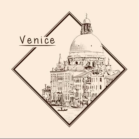 Venice architectural sketch vector