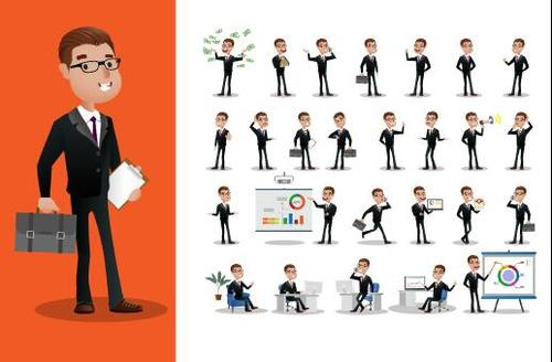 Very busy business person cartoon vector