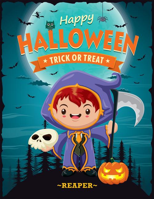 Vintage Halloween poster design vector