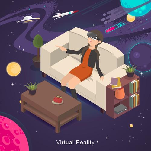 Virtual reality concept vector