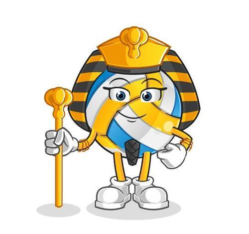 Volleyball Pharaoh Cartoon Vector