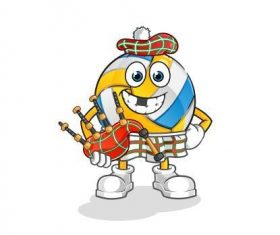 Volleyball cartoon vector holding a bagpipe