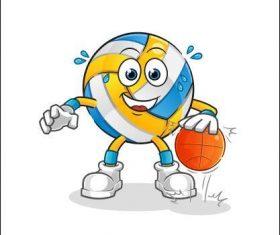 Volleyball cartoon vector playing basketball