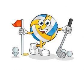 Volleyball cartoon vector playing golf