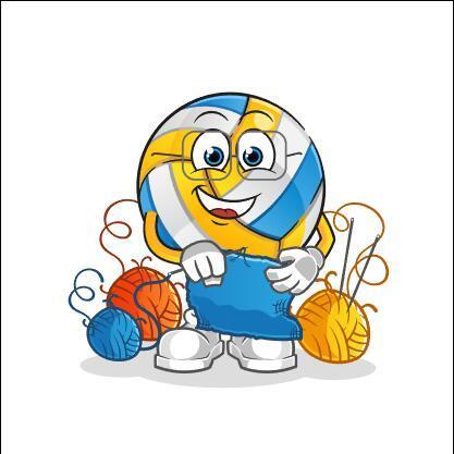 Volleyball knitting sweater cartoon vector