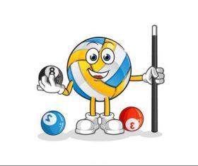 Volleyball mascot cartoon vector