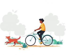 Walking the dog cartoon illustration vector