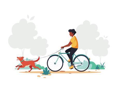 Walking the dog cartoon illustration vector