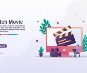 Watch movie cartoon illustration vector