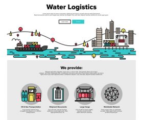 Water logistics flat graphic concept vector