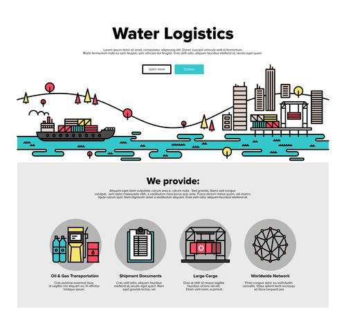 Water logistics flat graphic concept vector