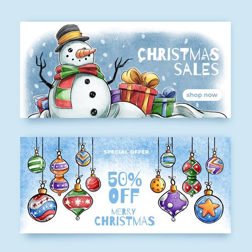 Watercolor christmas sale tag banner vector