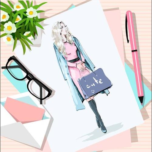 Watercolor figure painting vector