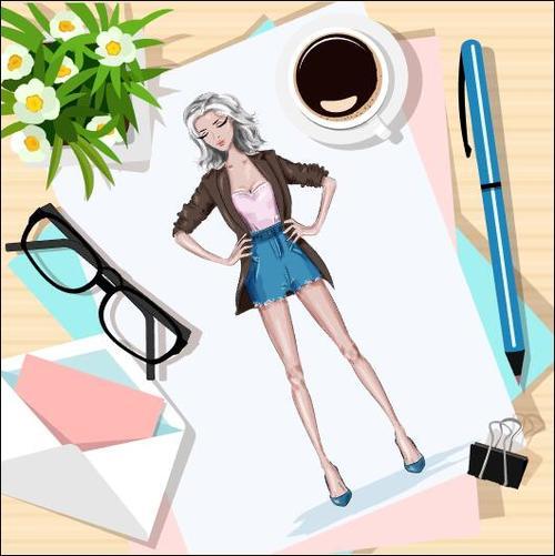 Watercolor girl illustration vector