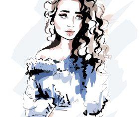 Watercolor illustration beautiful girl vector