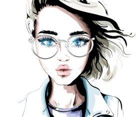 Watercolor illustration girl portrait vector