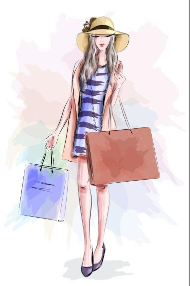 Watercolor illustration vector of girl holding shopping bags