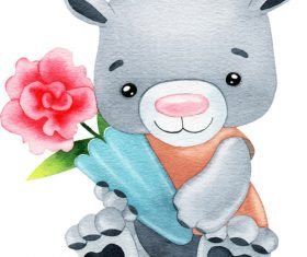 Watercolor illustration vector of little bear holding flowers