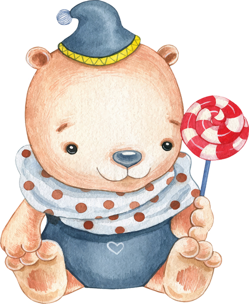 Watercolor illustration vector of little bear holding lollipop