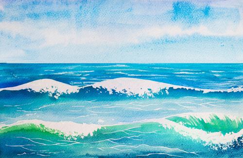 Wave watercolor illustrations vector