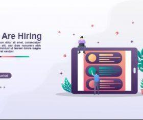 We are hiring cartoon illustration vector