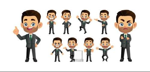 Wearing a suit comic character expression vector