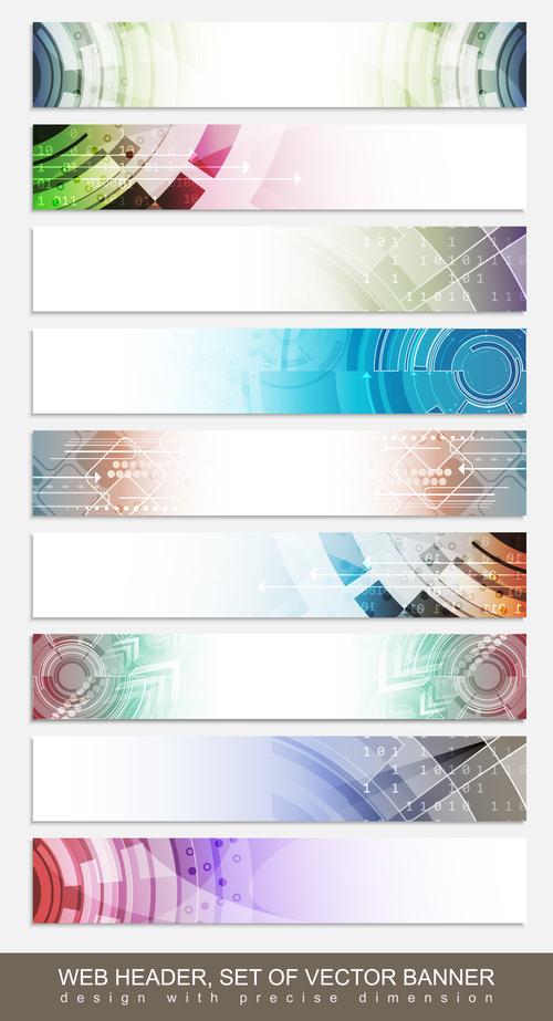 Web header set of vector banner
