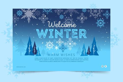 Welcome winter beautiful card vector