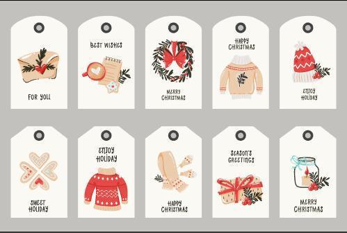 White Christmas themed label vector