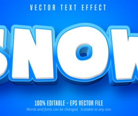 White Snow editable font effect vector