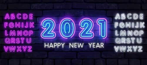 White and pink letters 2021 new year neon vector banner