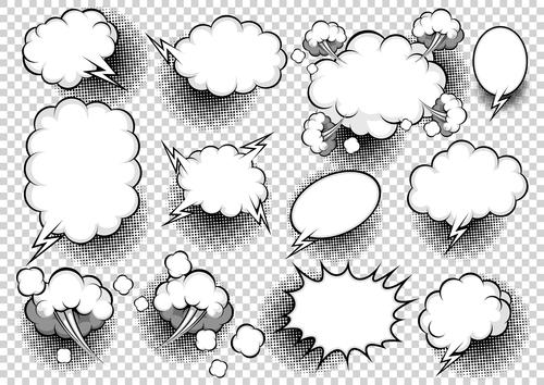 White comic bubbles vector