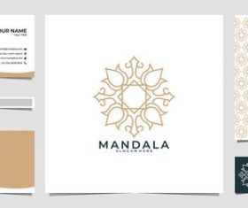 White mandala logo company business card vector