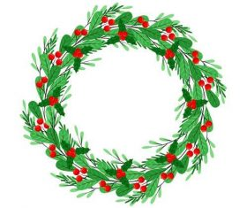 Wild berries decorated Christmas wreath vector