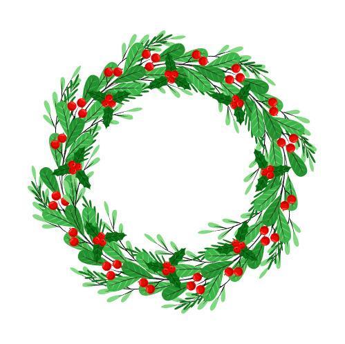 Wild berries decorated Christmas wreath vector