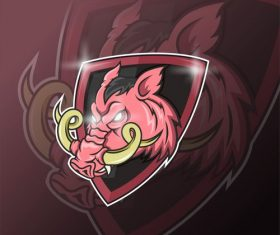 Wild boar esport icon vector