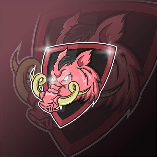 Wild boar esport icon vector